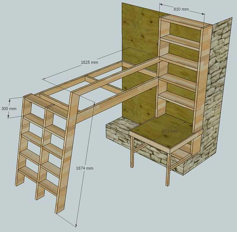 Как сделать кровать-чердак своими руками: чертежи. детская кровать-чердак с рабочей зоной своими руками
