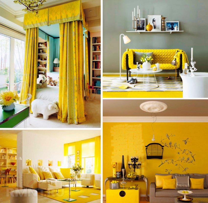 Сочетание желтого цвета с другими цветами и оттенками