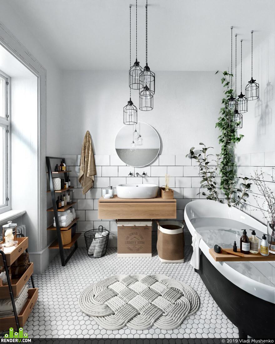 Маленькая ванная в скандинавском стиле. 15 лучших советов по реализации образа