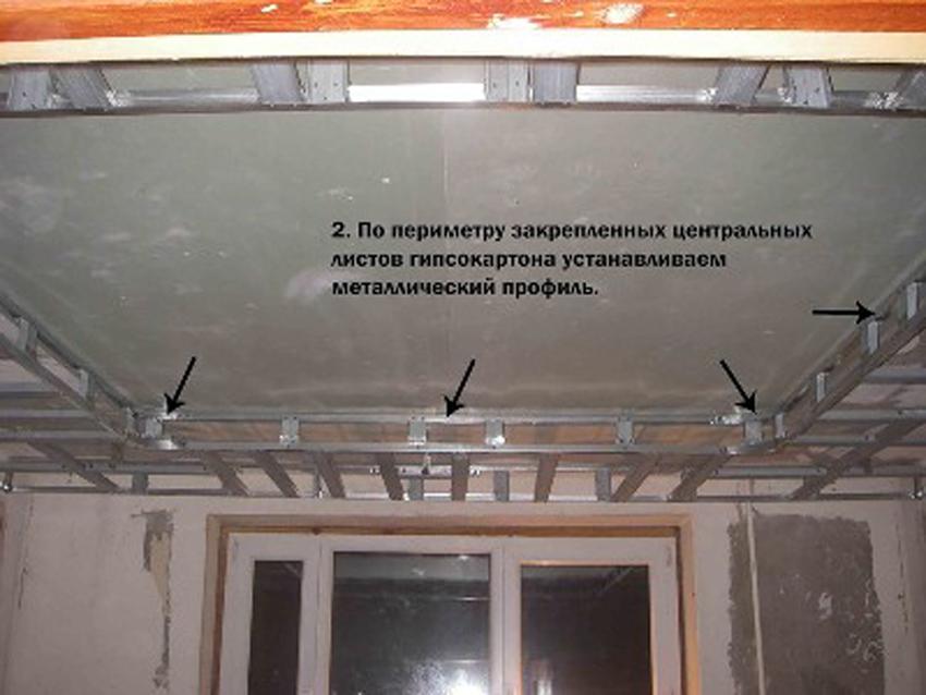 Потолок из гипсокартона своими руками: одноуровневый плавающий потолок на тягах