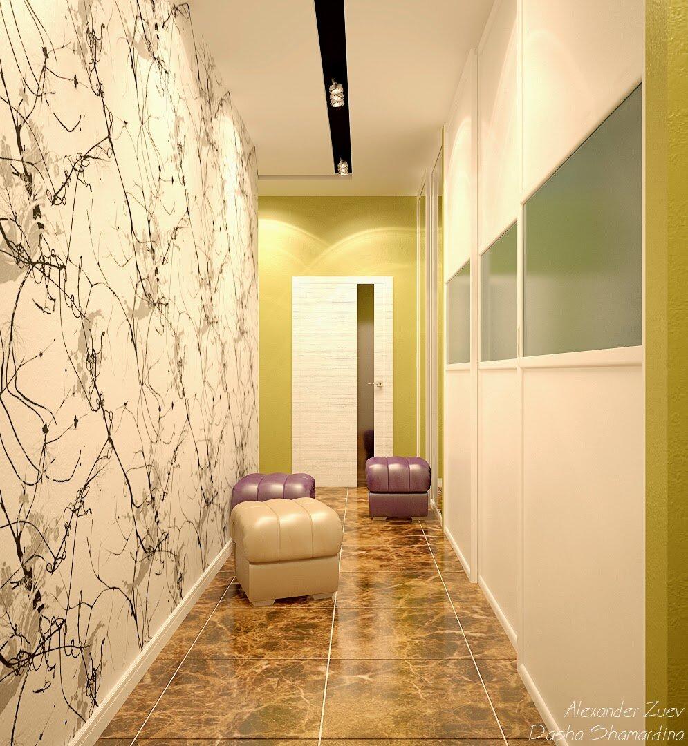 Дизайн обоев для узкого коридора в квартире